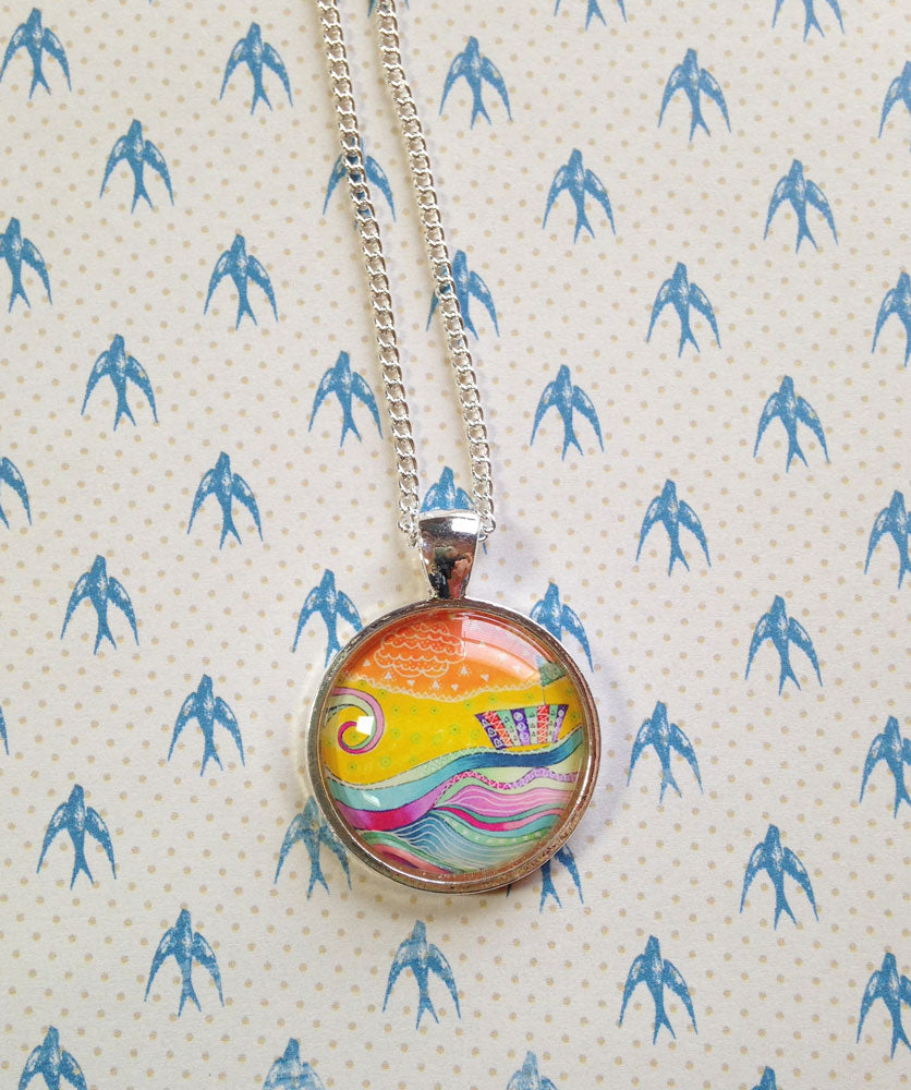 """Sailing in Stormy Seas"" Small Round Necklace"