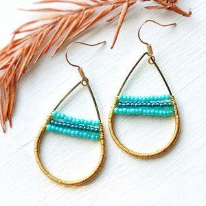 Sand and Ocean II - Wire and Beads Earrings
