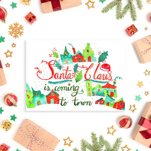Santa Claus is Coming to Town - 5x7 Notecard