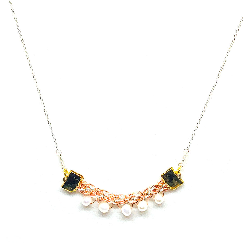 Sea Foam - Gemstones and Wirework Necklace