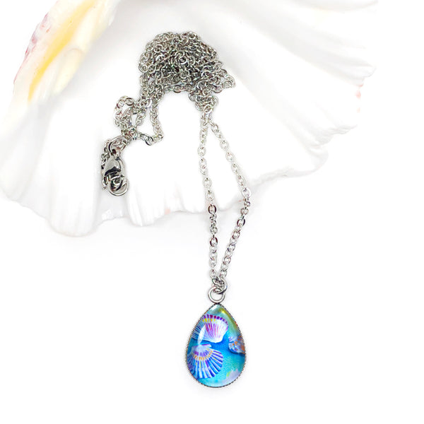 Seashell II - Stainless Steel Teardrop Necklace or Set