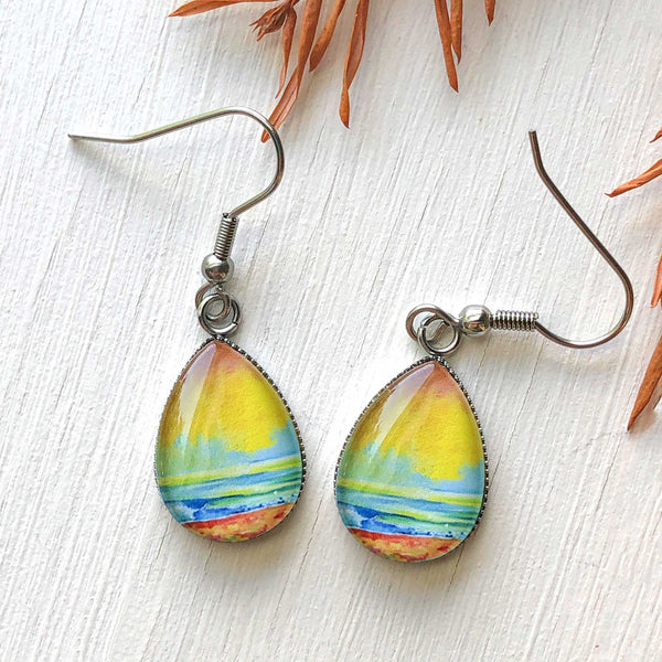 Simple Seascape I - Stainless Steel Earrings