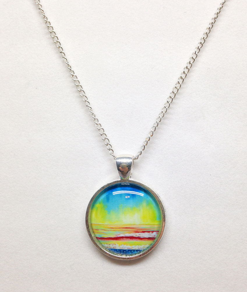 """Simple Seascape II"" Small Round Necklace"