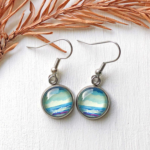 Simple Seascape VI - Dangle, Stud or Leverback Earrings