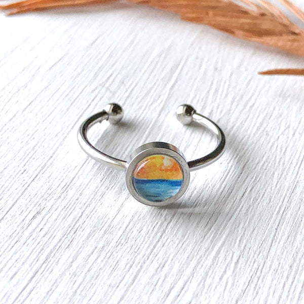 Simple Seascape VII - Adjustable Tiny Ring