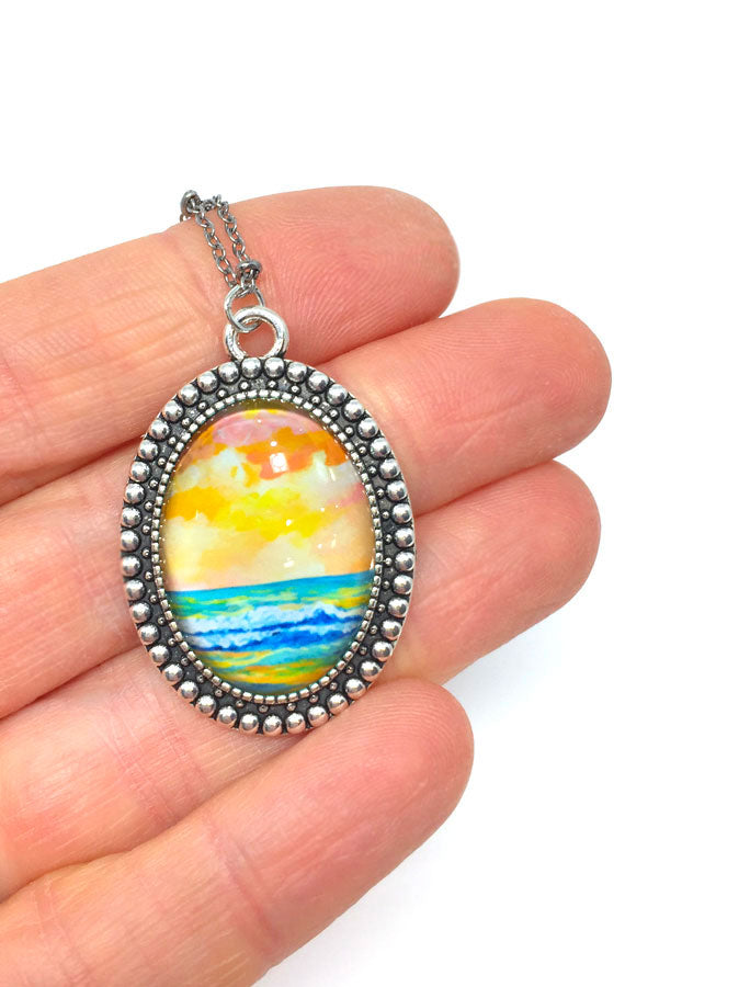 """Simple Seascape XIII"" - Vintage Oval Necklace"