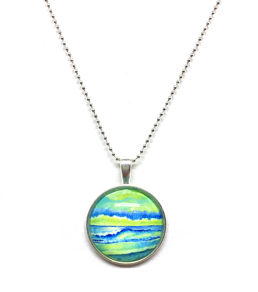 Simple Seascape XI - Small Round Necklace