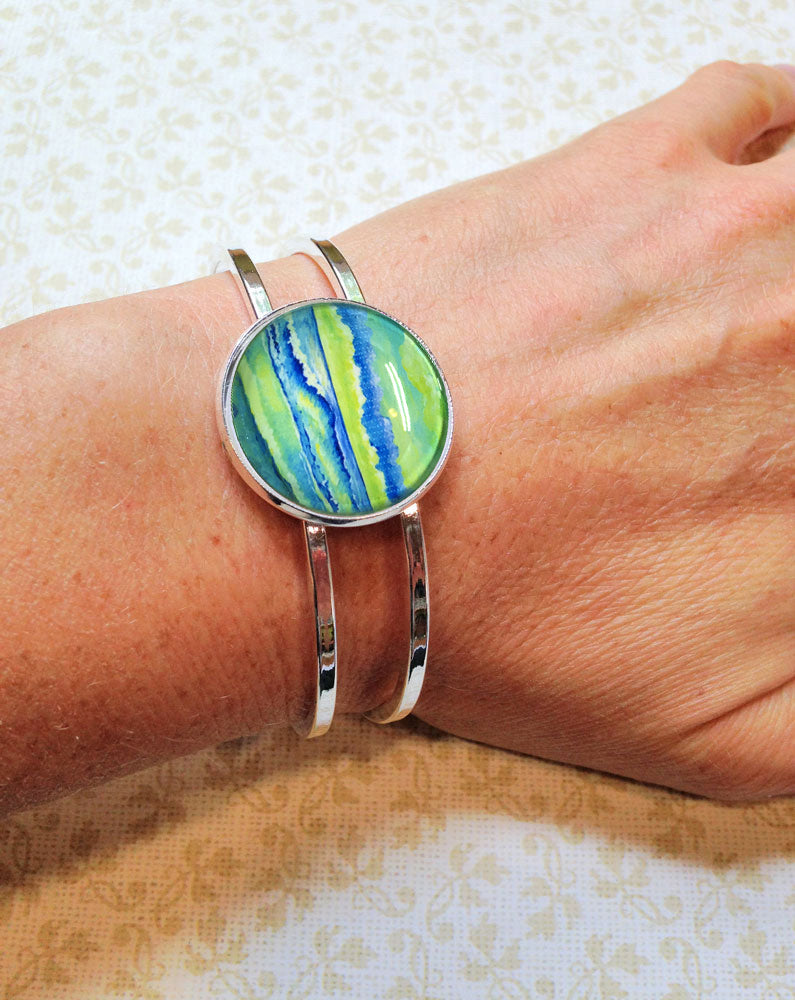 Simple Seascape XI - Hinged Bracelet