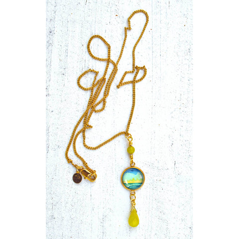 Simple Seascape XV - Gemstones and Wirework Necklace