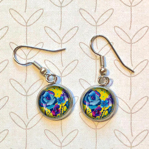 Yellow Floral - Dangle, Stud or Leverback Earrings