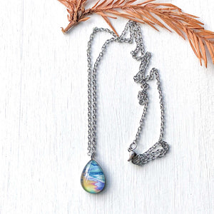 Spring Beach Scene - Stainless Steel Teardrop Necklace or Set