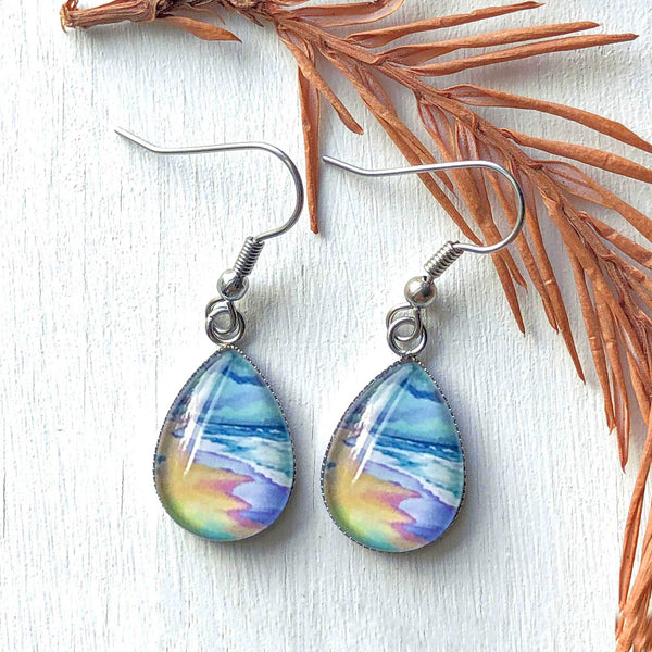 Spring Beach Scene - Stainless Steel Earrings