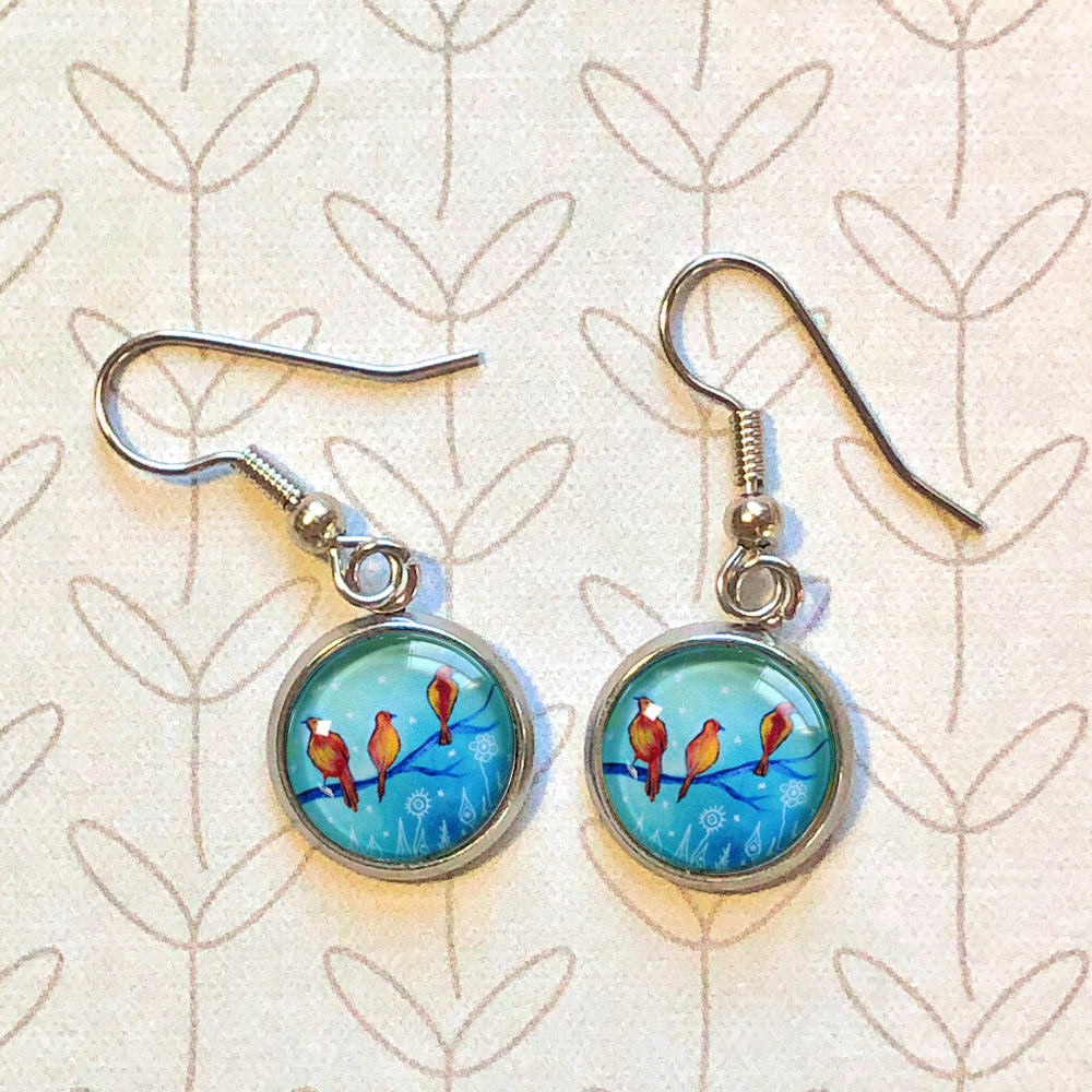 Three Little Birds II - Dangle, Stud or Leverback Earrings