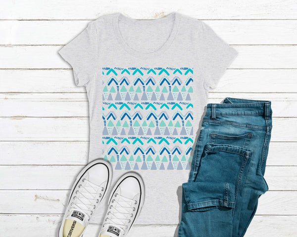 Geometric Pattern - Bella + Canvas Ladies' -FITTED- Short Sleeve T-Shirt