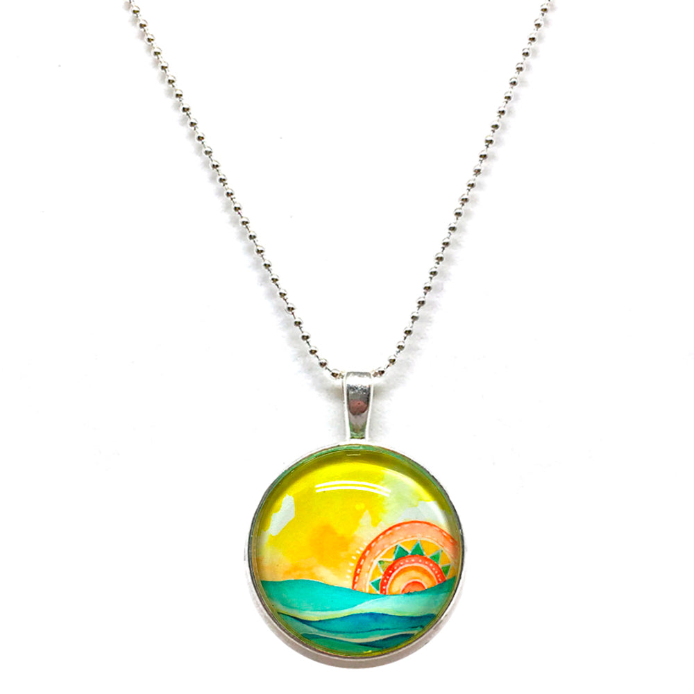Tribal Seascape - Small Round Necklace
