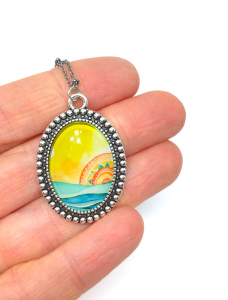 """Tribal Seascape"" - Vintage Oval Necklace"