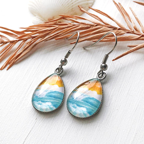 Turquoise Waters - Stainless Steel Earrings