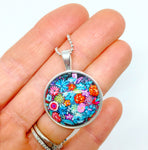 Vibrant Bouquet - Small Round Necklace