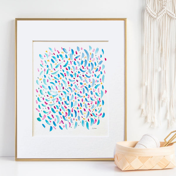 Abstract Fish Pattern I - Unframed, Matted to Standard Frame Size