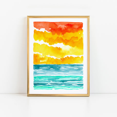 Abstract Watercolor Seascape VI