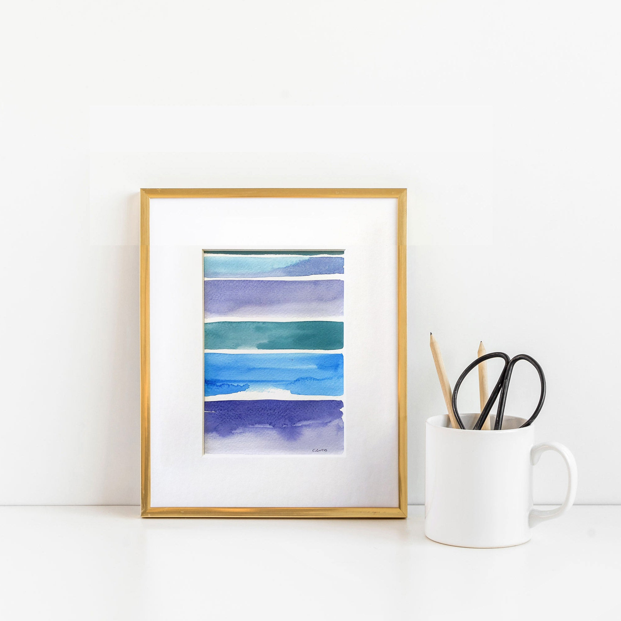 Watercolor Blocks - Unframed, Matted to Standard Frame Size