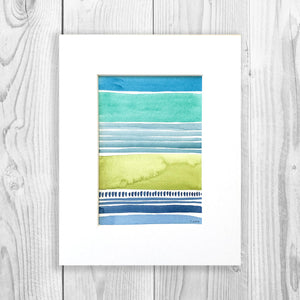 Watercolor Blocks II - Unframed, Matted to Standard Frame Size