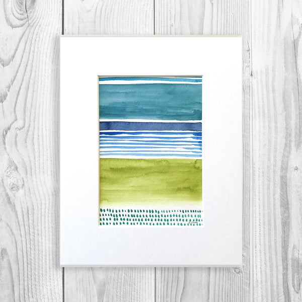 Watercolor Blocks III - Unframed, Matted to Standard Frame Size