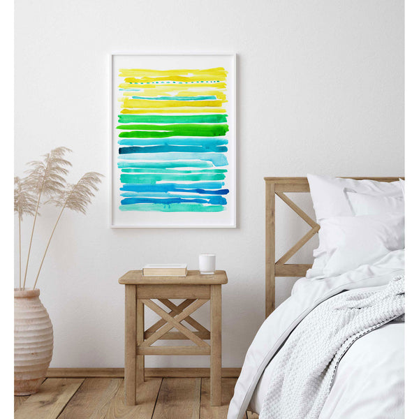 Abstract Watercolor Lines - Large Print