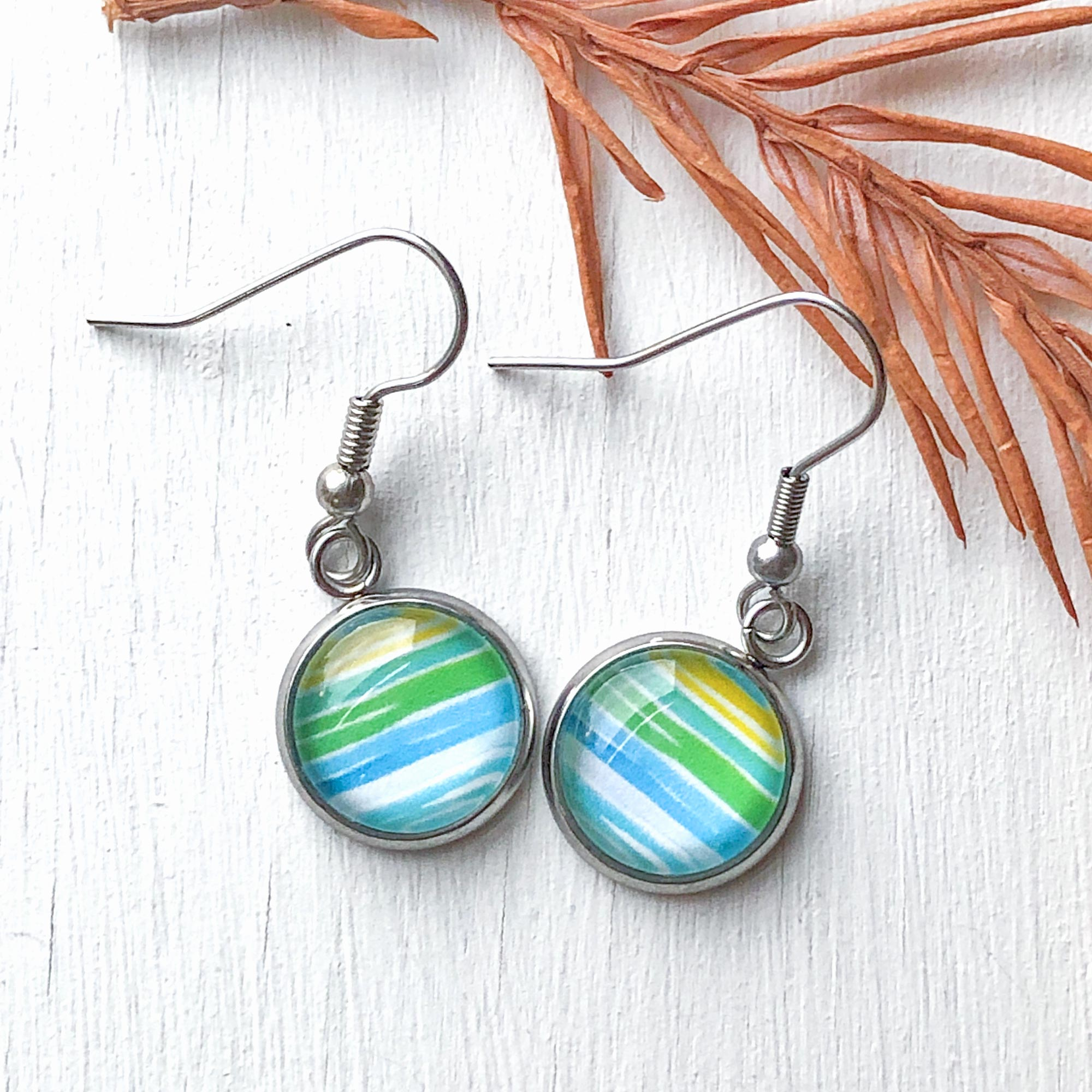 Watercolor Lines I - Dangle, Stud or Leverback Earrings