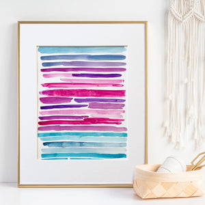 Watercolor Lines II - Unframed, Matted to Standard Frame Size