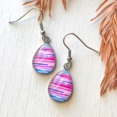 Watercolor Lines II - Stainless Steel Earrings