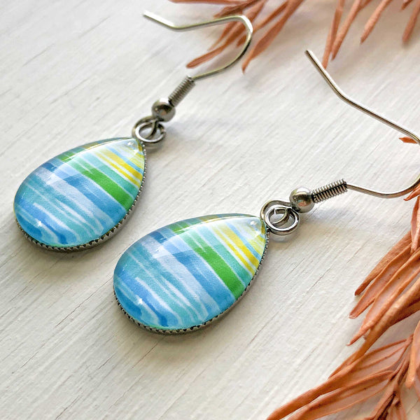Watercolor Lines - Stainless Steel Earrings