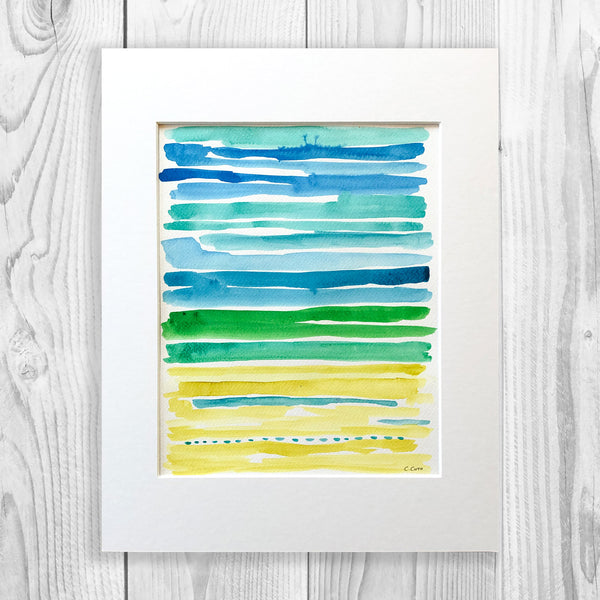 Watercolor Lines - Unframed, Matted to Standard Frame Size