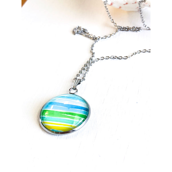Watercolor Lines - Stainless Steel Necklace