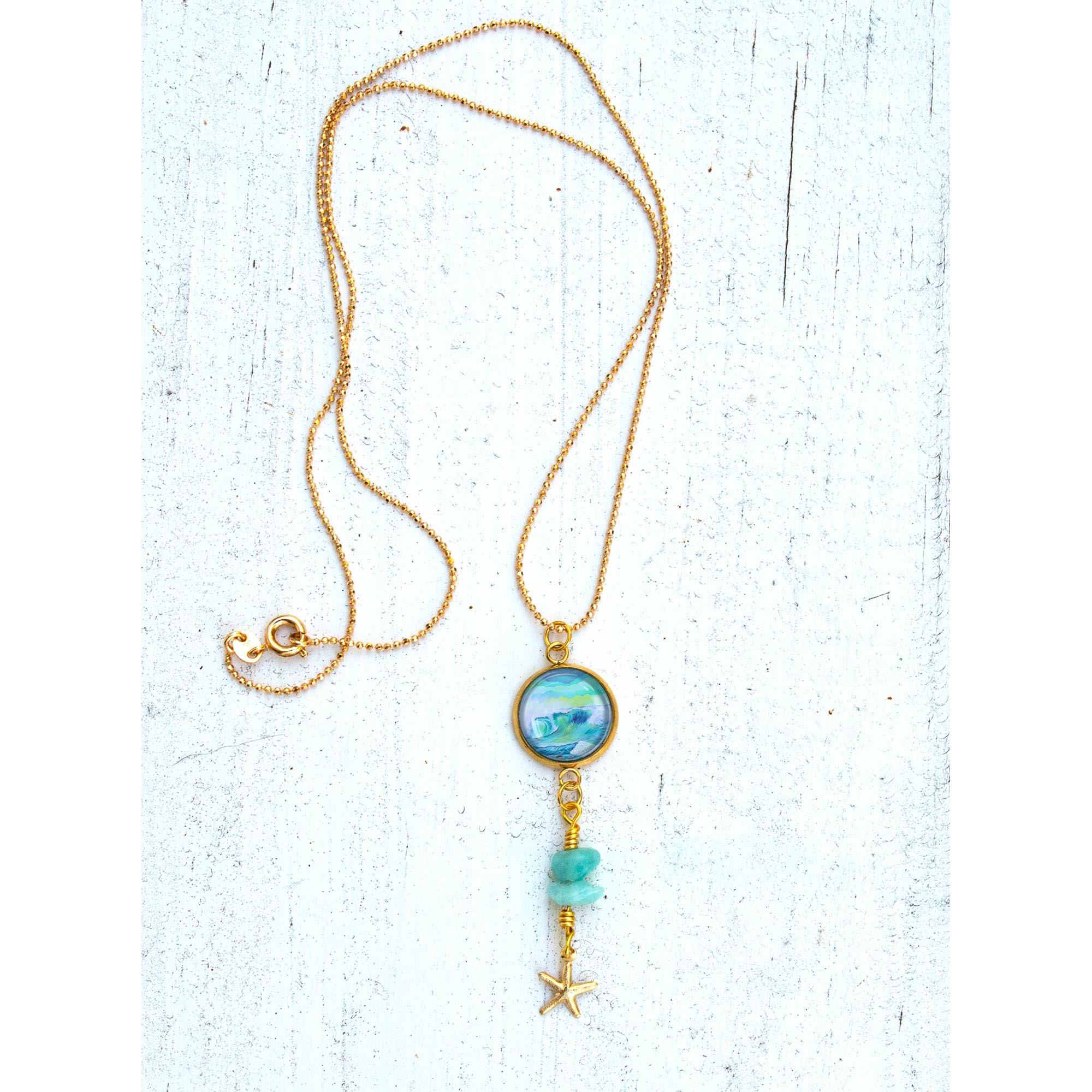 Wave 2.7 - Gemstones and Wirework Necklace