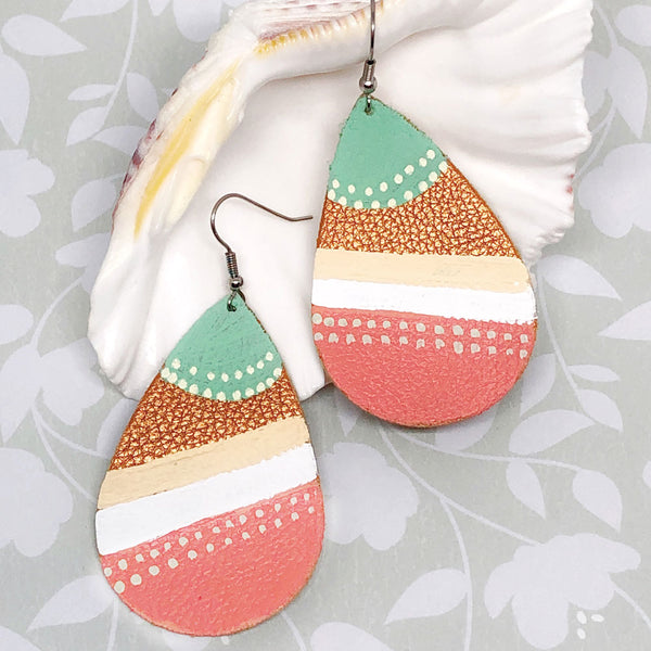 Hand Painted Earrings - Mint, Coral, Cream II