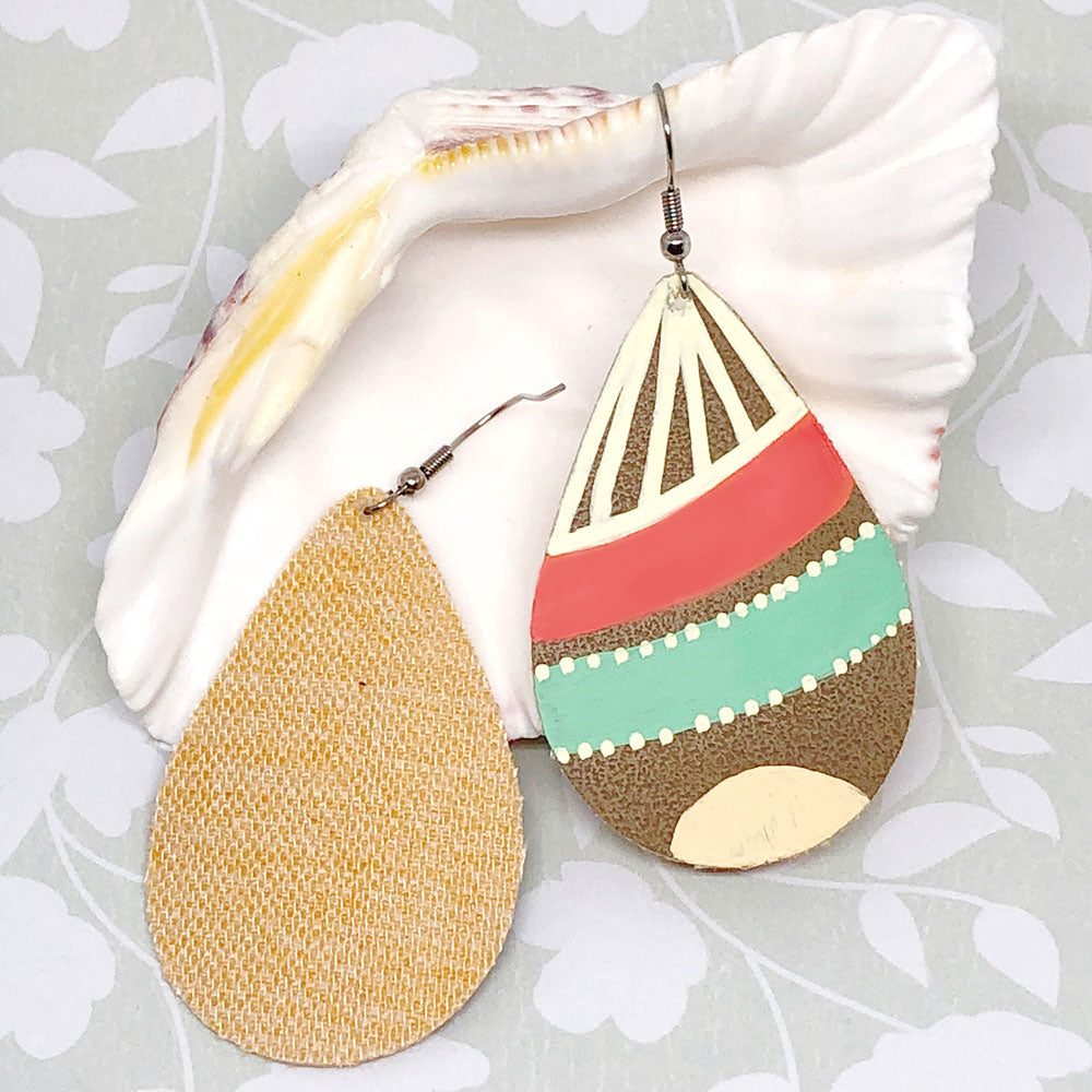 Hand Painted Earrings - Mint, Coral, Cream III