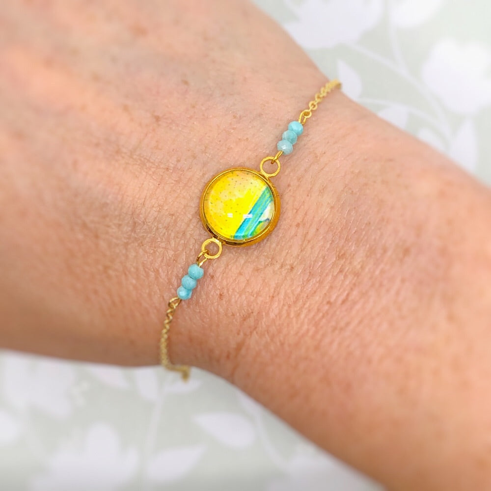 Pastel Seascape III - Gold Plated Dainty Bracelet With Gemstones