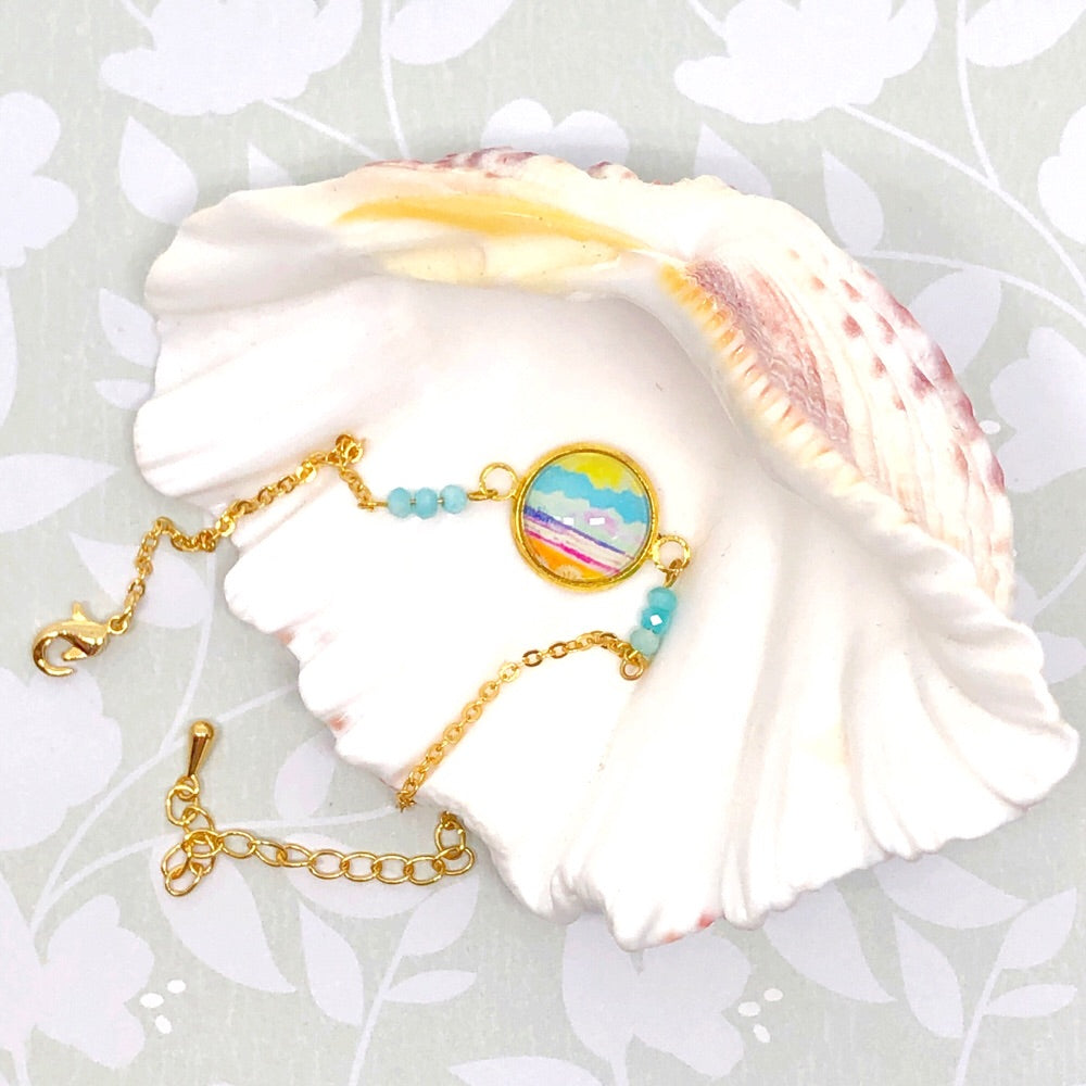 Little Pier- Gold Plated Dainty Bracelet With Gemstones