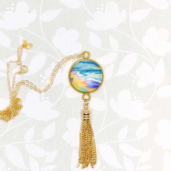 Spring Beach Scene - Gold Filled Chain Tassel Necklace