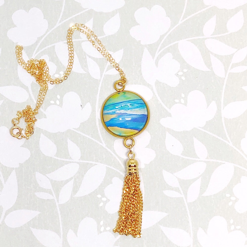Wet Sand - Gold Filled Chain Tassel Necklace