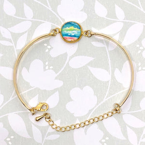 Abstract Seascape IV - Gold Plated Dainty Bracelet