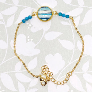 Ocean - Gold Plated Dainty Bracelet With Gemstones