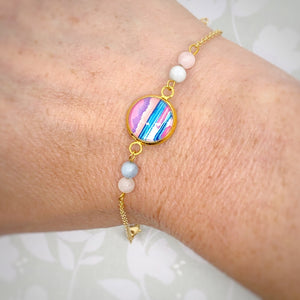 Graphic Seascape III - Gold Plated Dainty Bracelet With Gemstones