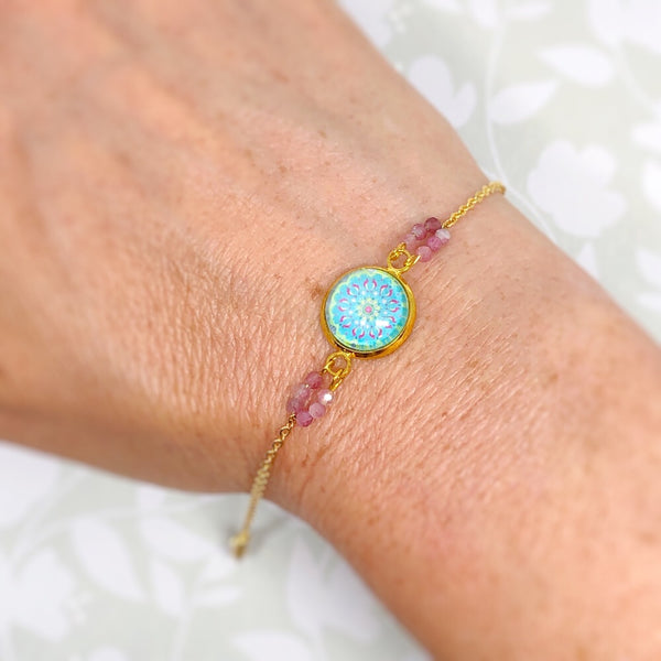 Mandala II - Gold Plated Dainty Bracelet With Gemstones