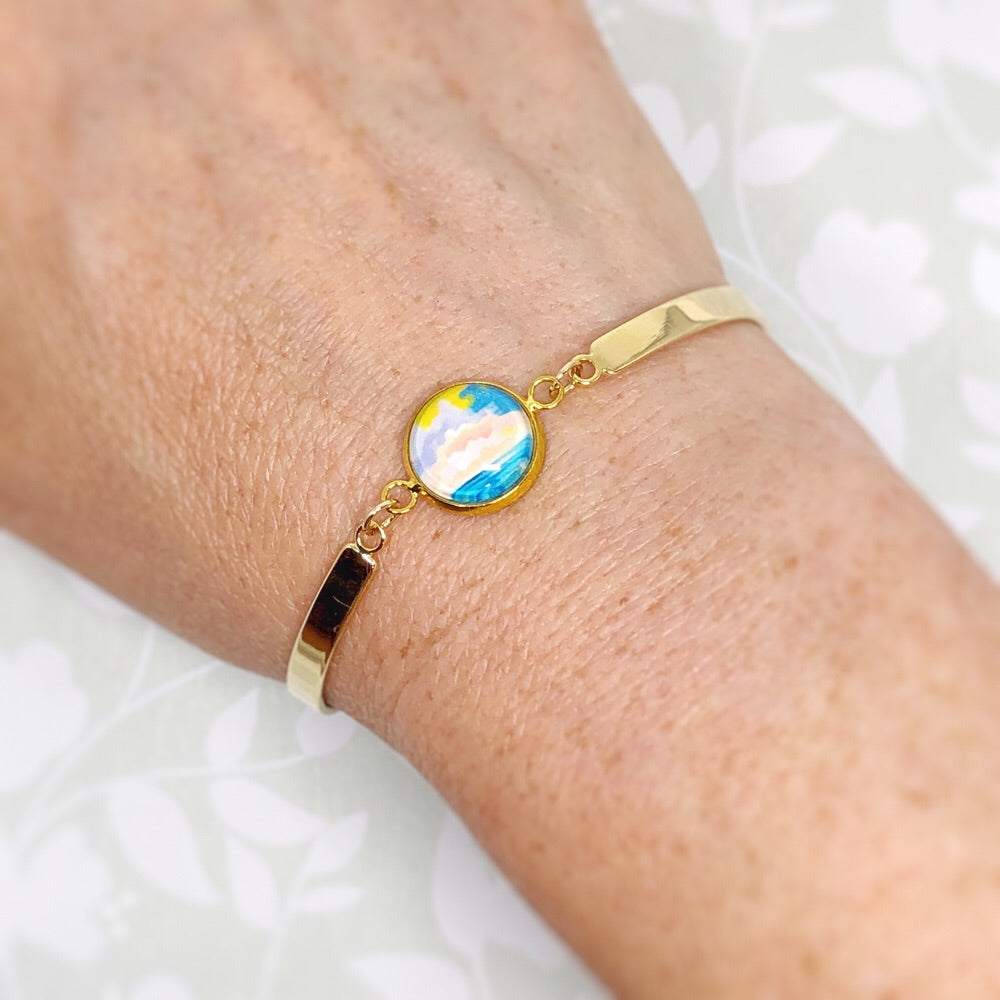 Abstract Seascape I - Gold Plated Dainty Bracelet