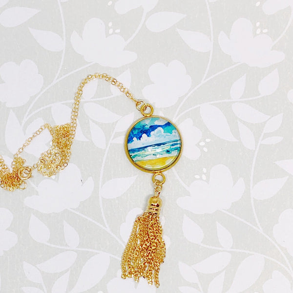 Simple Seascape X - Gold Filled Chain Tassel Necklace