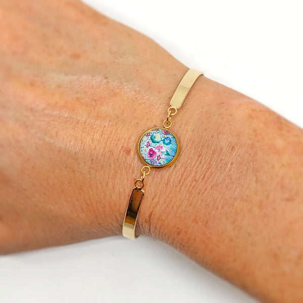 Pastel Floral III - Gold Plated Dainty Bracelet