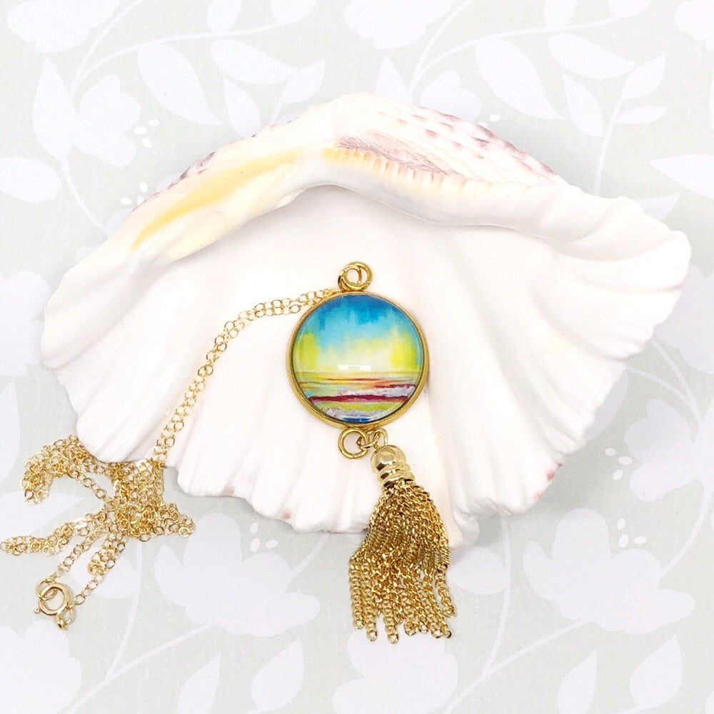Simple Seascape II - Gold Filled Chain Tassel Necklace