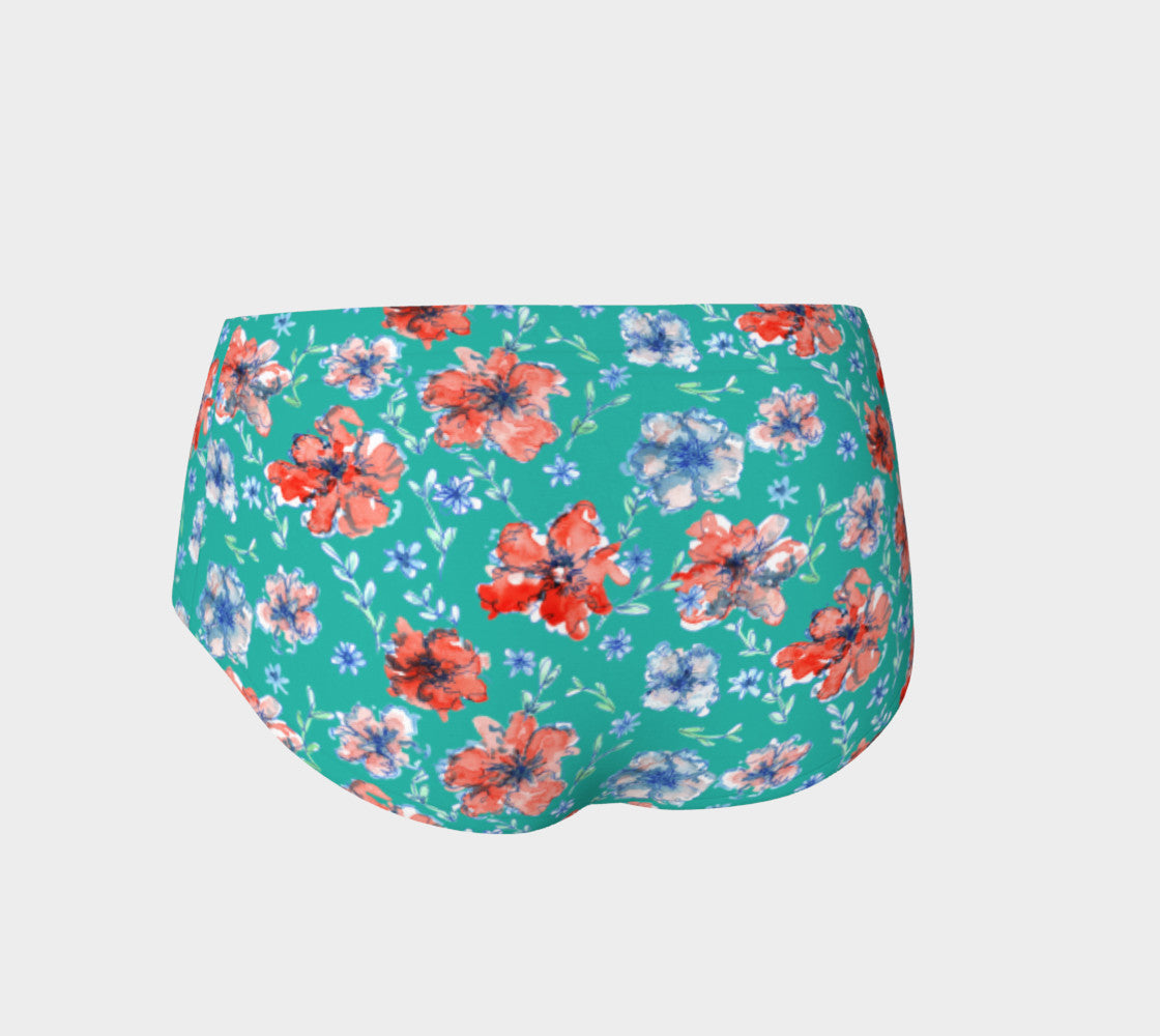 Blue and Red Floral Mini Shorts